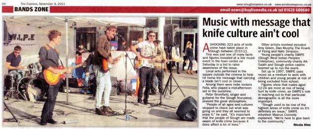 Performing in Slough high street.